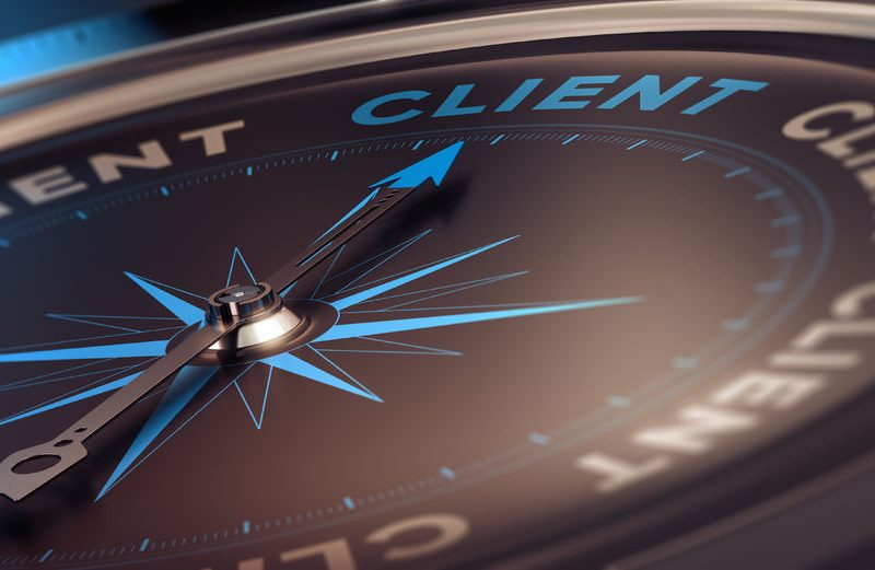 35051563 - compass with needle pointing the word client, concept image to illustrate crm, customer relationship management.