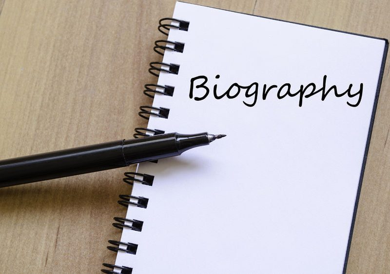 52604850 - biography text concept write on notebook