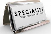 47430574 - specialist word on a business card for an experienced consultant, skilled professional or expert