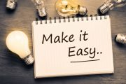 48938292 - make it easy concept, handwriting on notebook with light bulbs