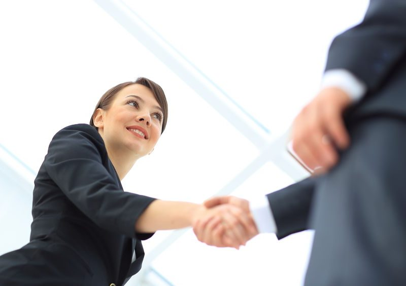 56490612 - two professional business people shaking hands