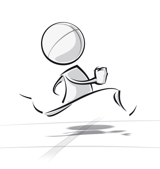 Sparse vector illustration of a of a generic cartoon character racing.