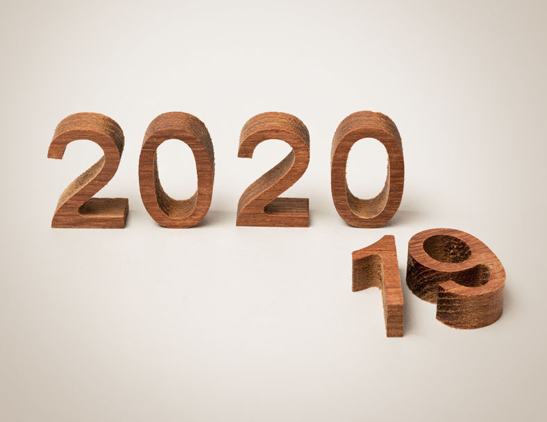 New year 2020 wood number happy new year 2020 concept