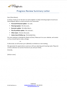 Progress Review Summary Letter